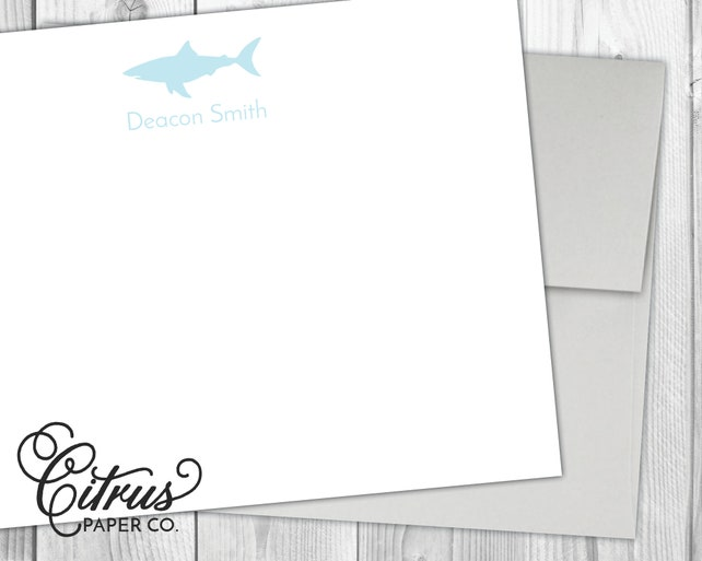 Shark Stationary Stationery Note Cards Flat Thank You Blue Personalized Gift Idea Birthday Party Boys