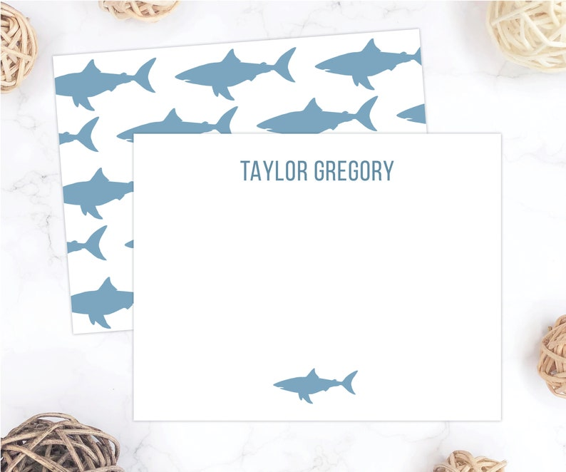 24. Personalized Shark themed Thank You Cards