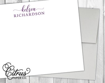 Personalized Stationery - Flat Note Cards - Set of 12 - Stationary - Cursive Purple Plum - Script Modern Calligraphy Women's Girl Gift Idea