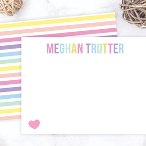 Kids Stationary Set for Girls Rainbow Personalized Flat Note Cards Bright and Colorful Kids Stationery Set Thank You Cards Notes 190