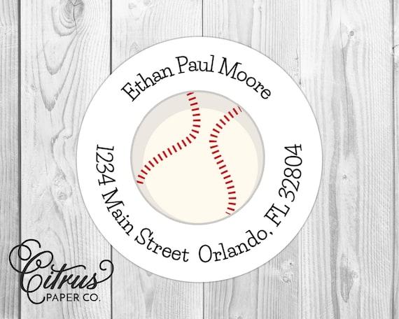 Baseball Return Address Labels 2 Round Stickers Etsy