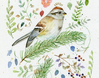 American tree sparrow original watercolor painting part of sparrow collection