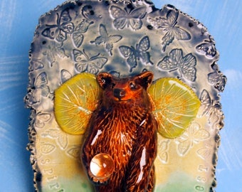 ceramic small wall plaque bear fairy with crystal ball