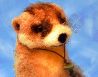 cute needle felted river small wool animal sculpture