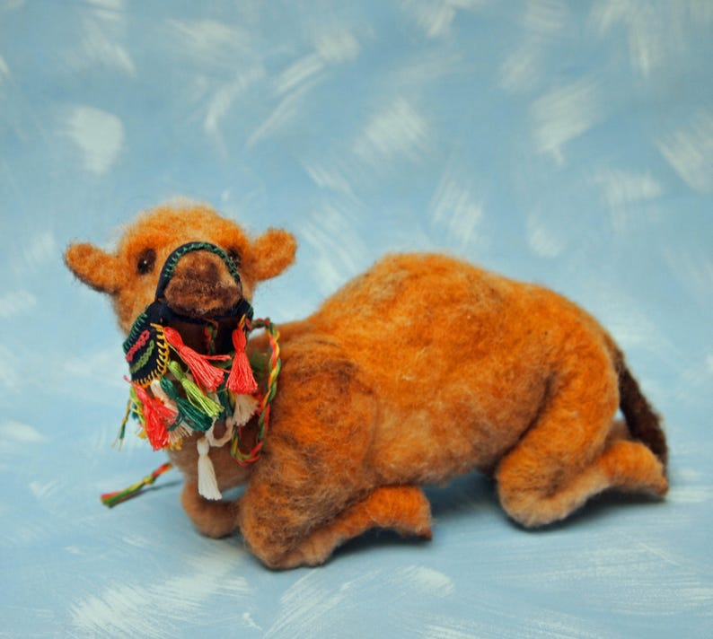 f047f3d8f9 needle felted wool camel with colorful halter