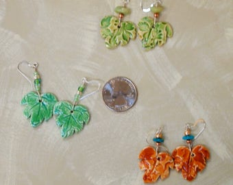 handmade ceramic leaf drop earrings with sterling silver hooks
