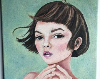 Anna, portrait of a gentle spirit. Original painting of a beautiful girl against a green background.