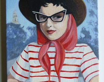 Vintage woman on vacation, an original painting of Kitty.