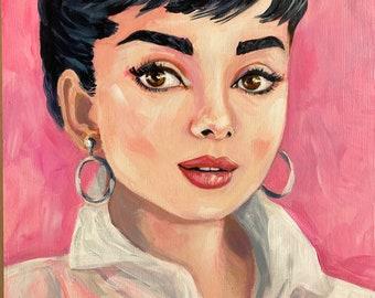 Audrey Hepburn, original portrait painting.