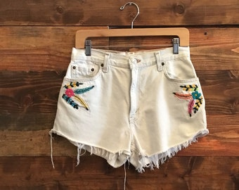 Levi's Embroidered  Denim Shorts Patches, Cutoffs Distressed