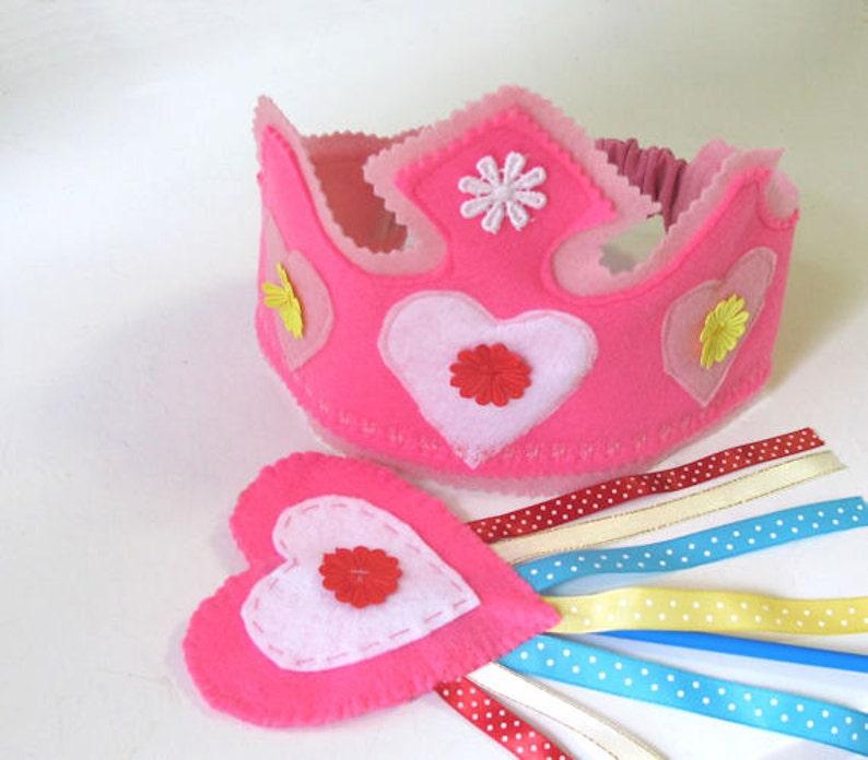 Princess Dress Up Hat Felt Crown and Fairy wand Felt Princess Birthday Crown