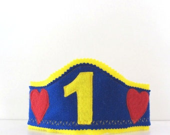 First Birthday Boys Hat, First Birthday Crown, Felt boys Crown, Boy Birthday hat, Cake Smash Boy