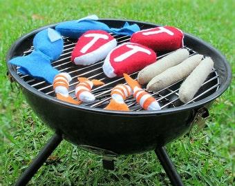Felt Food Meat, Campfire Play Food,  Grill BBQ, Pretend Camping, Pretend Play Shopping, Play Food Groceries, Toy Kitchen Food