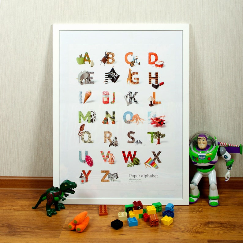 Paper Alphabet Print. Custom made paper illustrations. Kids image 0