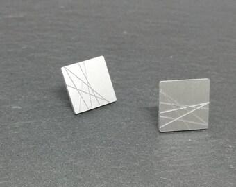 moona moon mini rectangle aluminium stud earrings