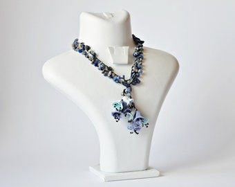 Blue Oya Collar Bellflowers Necklace Crochet Jewelry Beaded Wrap Necklace Statement Necklace Crochet Necklace Christmas Women/'s Gift