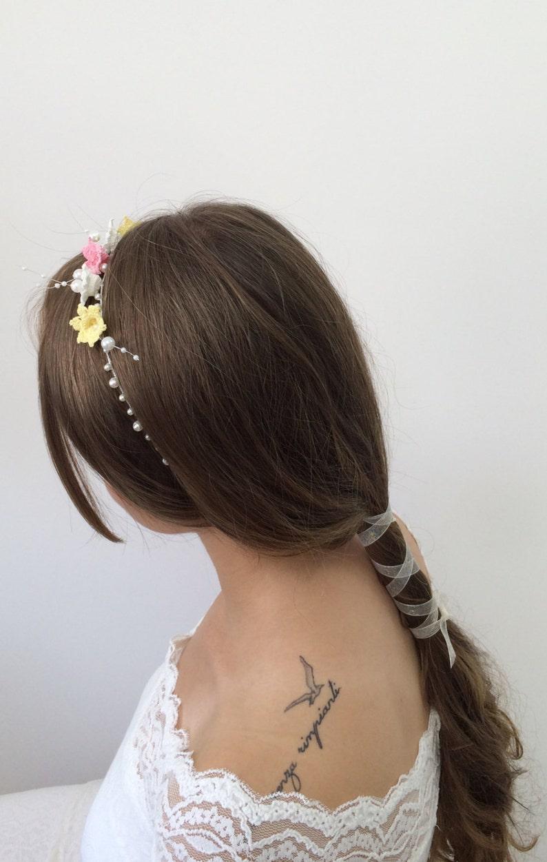 Crochet Headband Wedding Hair Picks Wedding Boho Hairpiece Bridal Hair Jewelry Bridesmaid Headpiece Gift Flower and Pearl Hairband