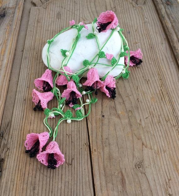 Bellflowers Long Necklace Pink Flower Lariat Boho Crochet Etsy