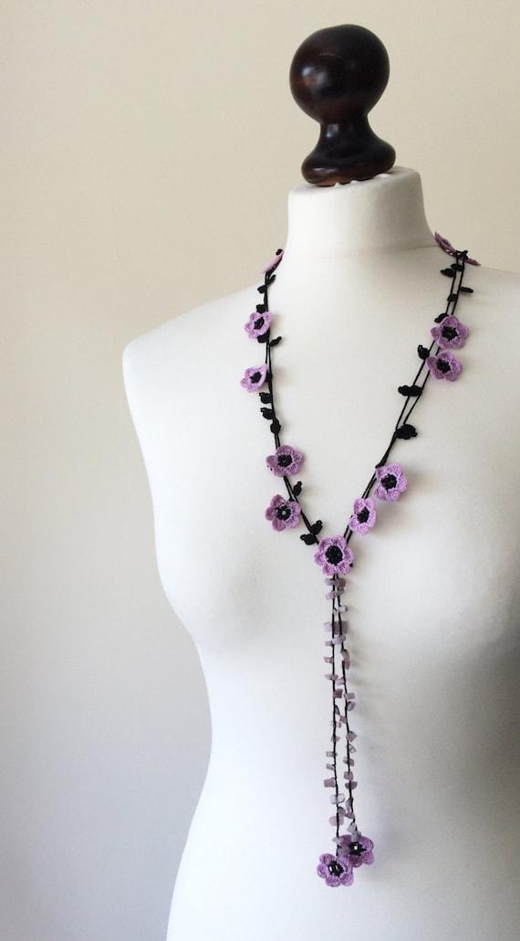 Lila Häkeln Lasso Türkische Oya Halskette Perlen Blume Etsy