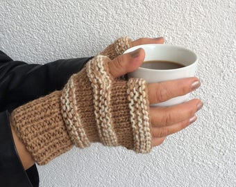 Knit Cozy Mittens, Fingerless Gloves, Unique Arm Warmers, Women Gloves, Woodland Striped Gloves, Wrist Warmers, Outlanders, Clothing Gift,