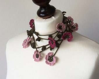 Flower Scarf, Crochet Necklace, Long Wrap Lariat, Skinny Scarf, Olive Green Lariat Scarf, Pink Flowers Spring Necklace, Crochet for Women