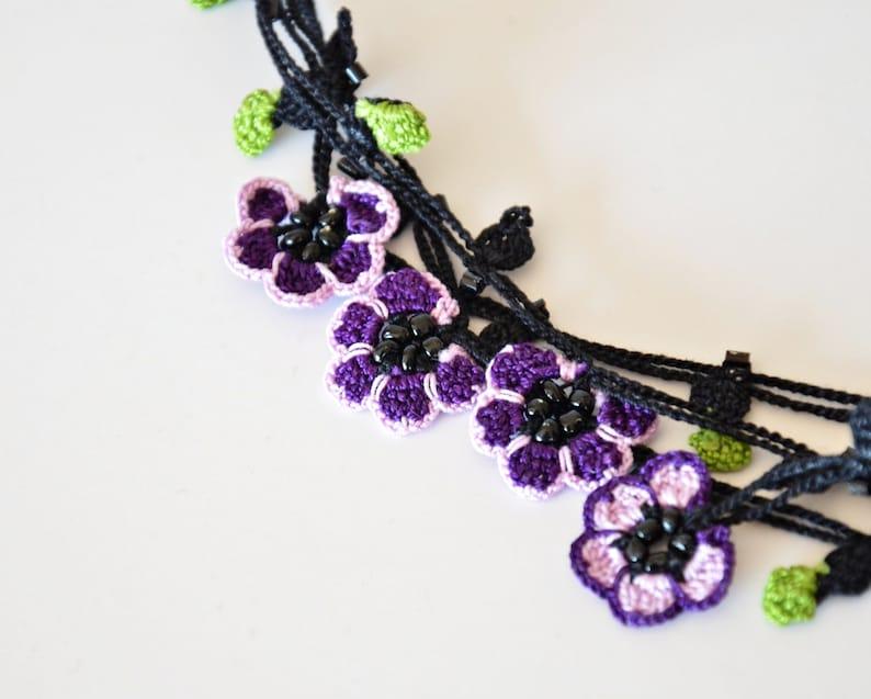 Oya Beaded Wrap Necklace Lavender Crochet Jewelry Bead Flower Necklace Boho Violet Lariat Crochet Necklace Unique Gift For Women