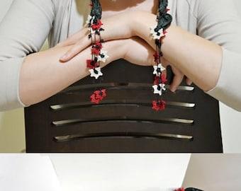 Oya Beaded Necklace, Silk Wrap Scarf, Emerald Silk Necklace, Crochet Necklace, Oya Skinny Scarf, Flower Foulard, Jewelry Scarf, Women's Gift