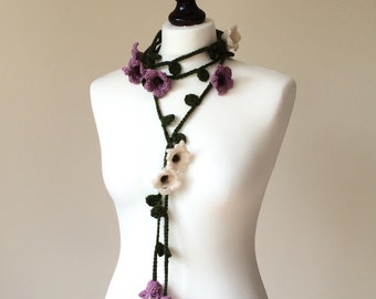 Boho Lily Flower Crochet Scarf, Wool Chunky Wrap Necklace, Mother's Gift, Scarf, Oya Beaded Lariat Garland, Women Accessory Gift