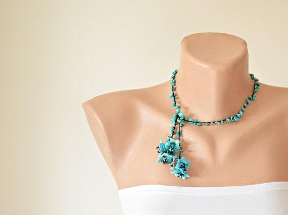 Türkis Häkeln Halskette Oya Perlen Kragen Türkische Etsy