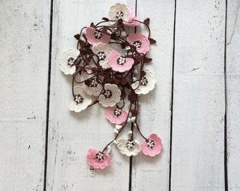 Boho Pink Lariat, Crochet Necklace, Anniversary Gift, Oya Beaded Lariat, Boho Flower Necklace, Crochet Jewelry, Beaded Necklace, Women Gift