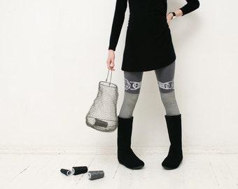 Dark gray and  b&w plaid stocking leggings