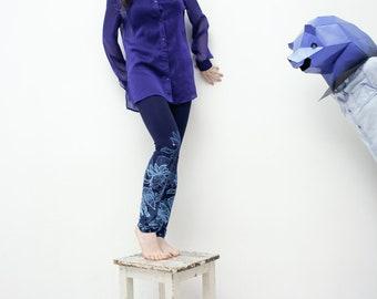 XS size- Navy blue leggings with cobalt blue fancy animal print