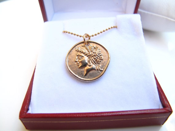 fd070420e78 14 K plated yellow gold old style coin charm pendant necklace