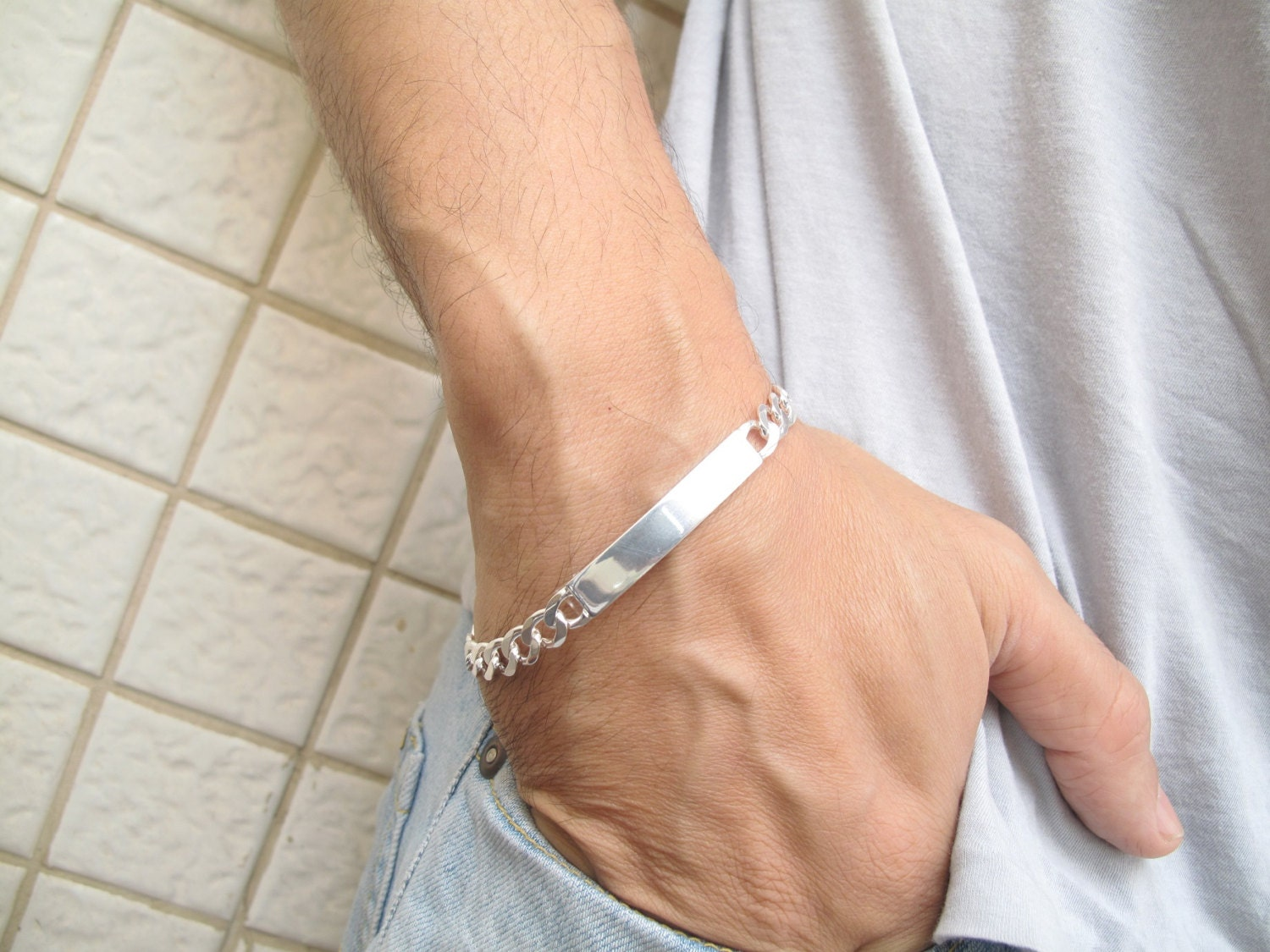 Chain Link Cuban Id Name Tag Bracelet 925 Sterling Silver Etsy