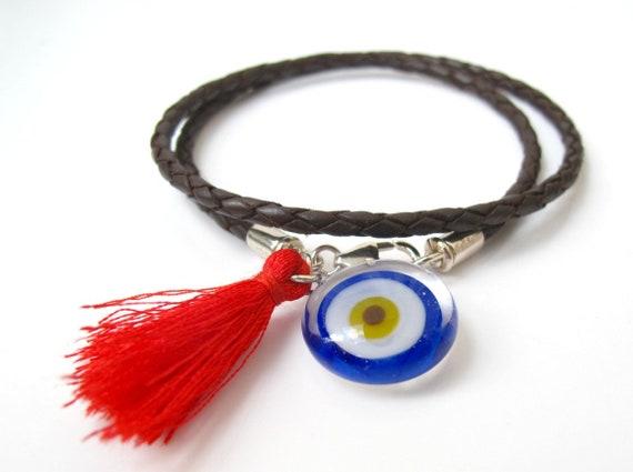 Kabbale porte-bonheur bracelet bleu evil eye rouge chaîne   Etsy ae403490aeff