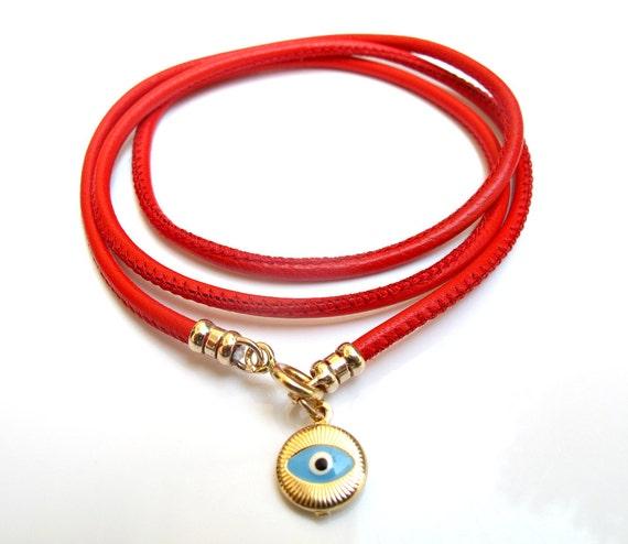 Kabbale rouge chaîne 14k or bleu evil eye bracelet hamsa   Etsy d082afc17693