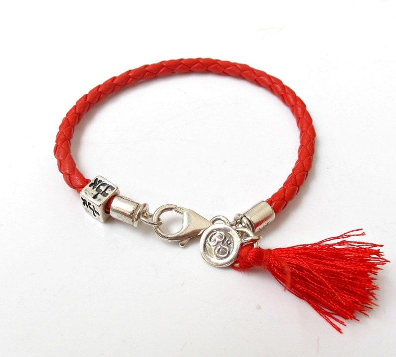 691073270954 Kabbalah amuletos pulsera hilo rojo om alad símbolo amuleto talisman plata  premium cuero brazalete