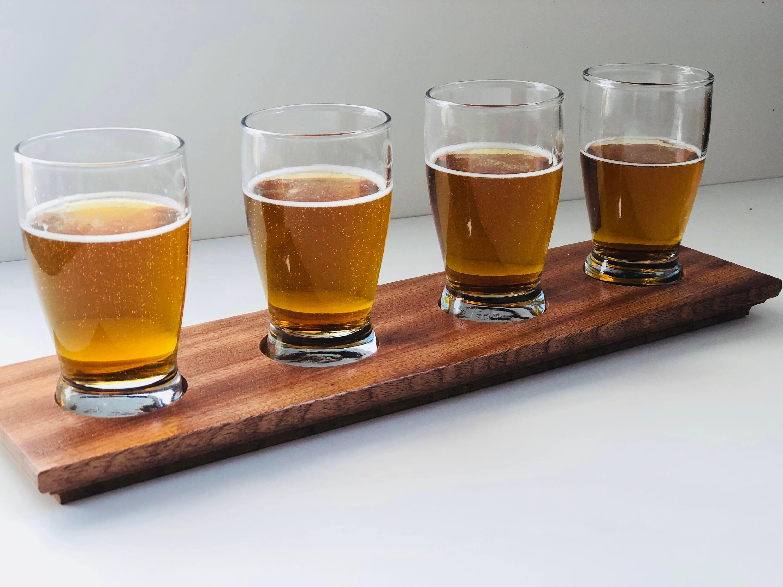 Wooden Beer Flight Groomsmen Gift Beer Gift Beer Flight Set Tasting Set Home Bar Birthday Gift Beer Tasting Tray Craft Beer