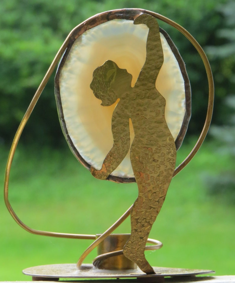 SYNERGETIC WOMYN Sculpture Signed Brass Metal Wire Agate Geode Slice Candle Holder