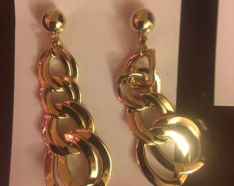 Gold Dangle Hoop Earrings  1960