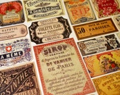 Parisian Labels - 18 Reproduction Vintage Labels from Paris France, French Absinthe, Perfume Apothecary Labels, Sticker Pack