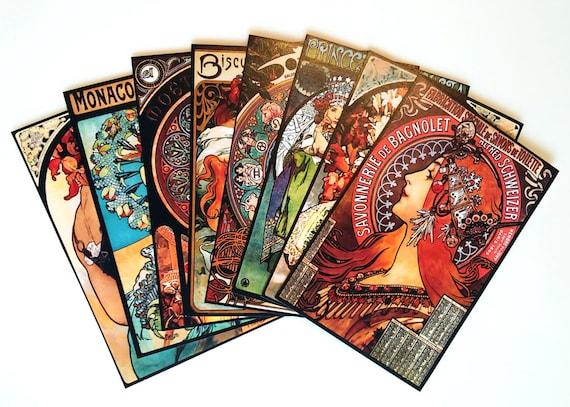 Life Planner Stickers 8 pcs 1920s Art Nouveau Art Deco Stickers Craft Supply MINI MUCHA STICKERS \u2014 Small Alphonse Mucha Stickers