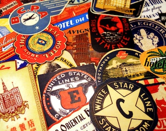 Mini Luggage Labels - 26 Reproduction Vintage Travel Stickers & Suitcase Labels, International Hotel and Airline Stickers, Sticker Pack