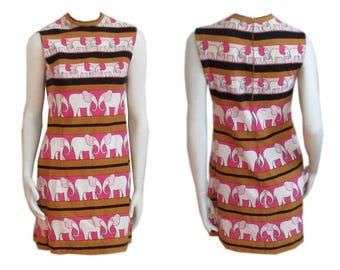 Vintage 1960s Dress Cute Elephant Print Sleeveless Shift Italian Cotton Knit Saks Fifth Ave.