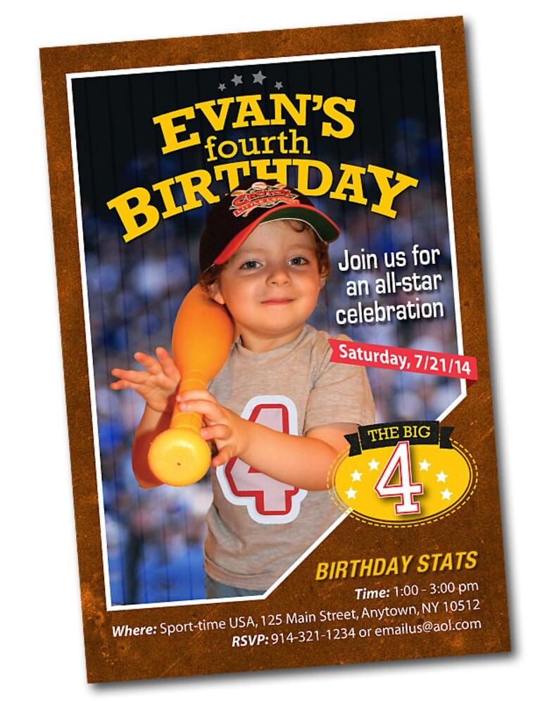Sports Card Personalized Birthday Invitation Baseball