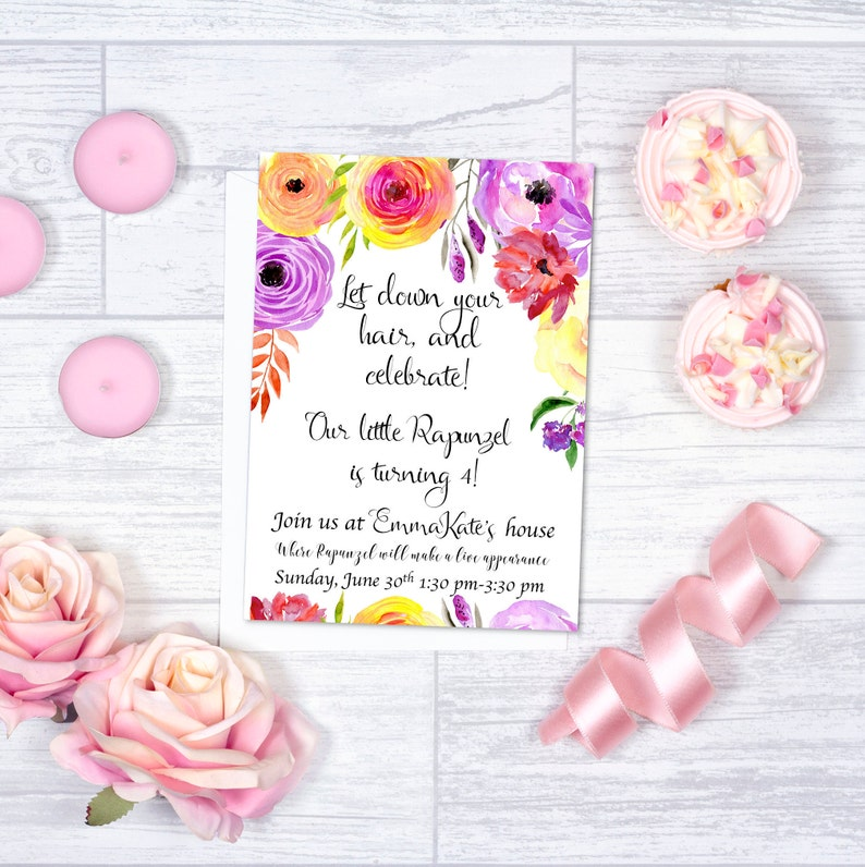 Watercolor Rapunzel Birthday Party Invitation Template With Floral Print O INSTANT DOWNLOAD Printable Editable