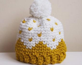 Crochet Pattern Let it snow beanie, Fair isle women hat, Sweedish bulky woman knit look hat pom pom, DIY photo tutorial, Instant download