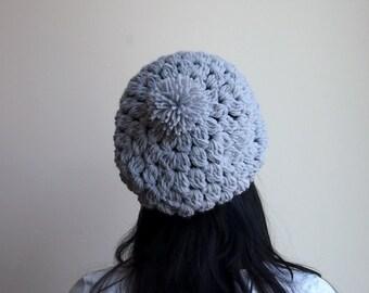 Crochet Pattern chunky slouchy hat pom pom hat beanie photo DIY tutorial Instant download