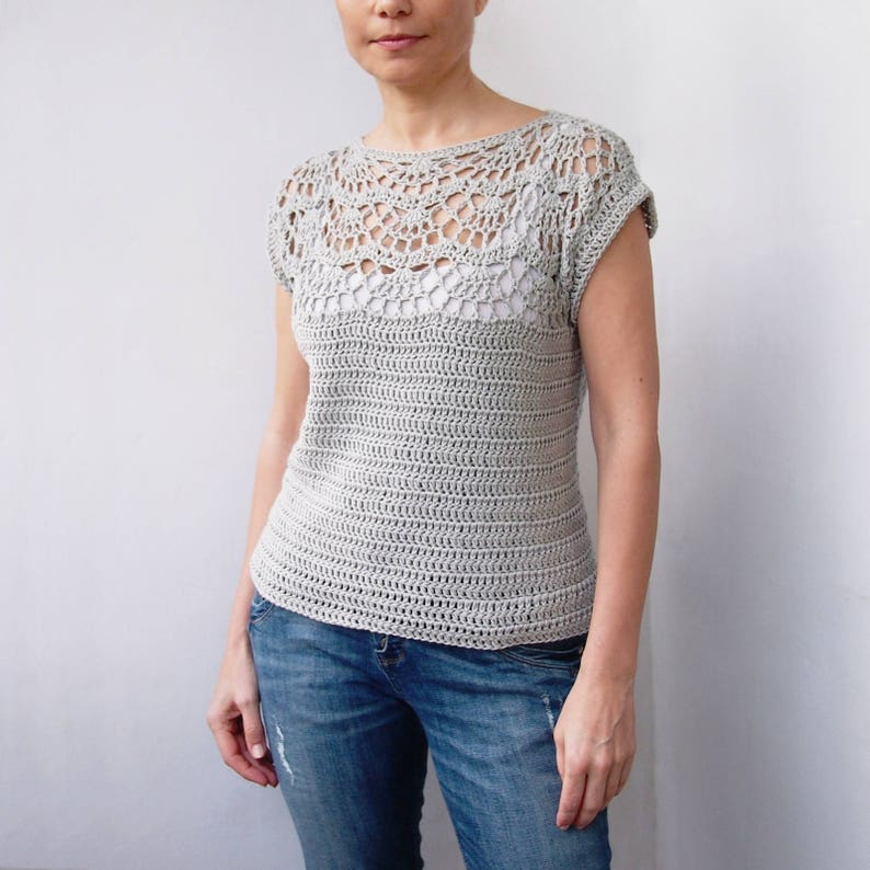 1a41acb4b8286f Crochet Pattern woman shell top women sweater pullover