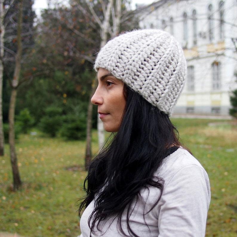 5881078274e Crochet Pattern bulky woman basic hat women beanie knit look